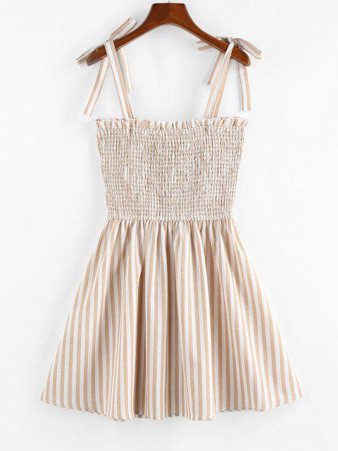 unique ZAFUL Striped Pattern Shirring Mini Dress - LIGHT COFFEE L Mobile