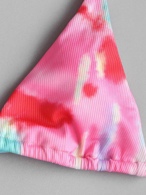 hot ZAFUL Tie Dye Ribbed Halter Three Piece Bikini Swimwear - LIGHT PINK L Mobile