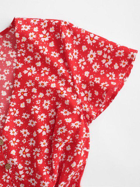 ZAFUL Ditsy Blumen Knopf Schleife Volant Sommerkleid - Rot S Mobile