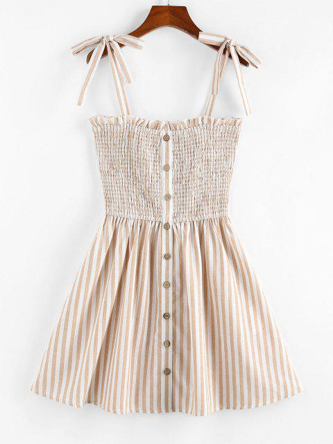 affordable ZAFUL Striped Pattern Shirring Mini Dress - LIGHT COFFEE XL Mobile