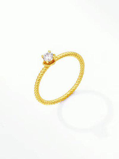Zircon Inlaid Twist Ring - Golden Us 7