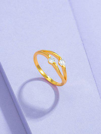 Double Zircon Inlaid Gold-Plated Split Shank Ring - Golden Us 8