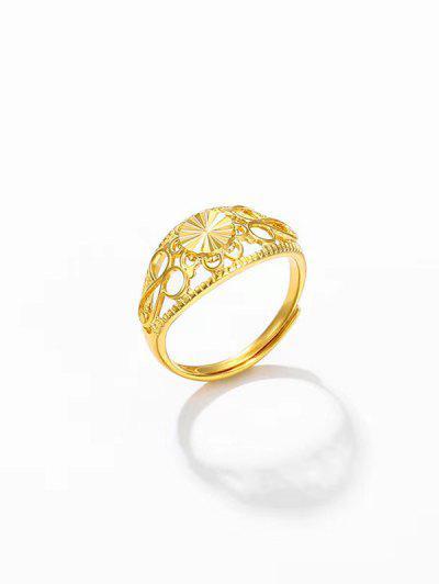 Hohle Runde Verstellbarer Ring - Golden