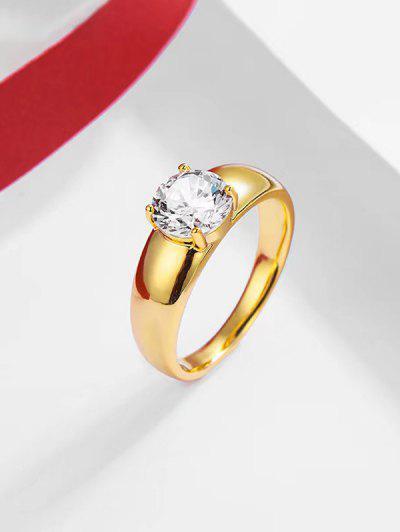Single Zircon Inlaid Gold-Plated Bezel Setting Ring - Golden Us 10