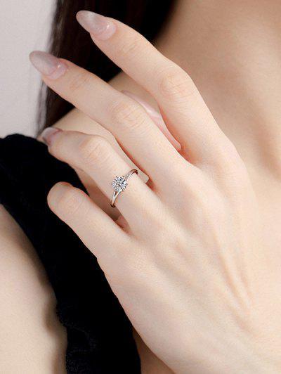 Zircon Split Shank Prong Set Ring - Silver Us 7