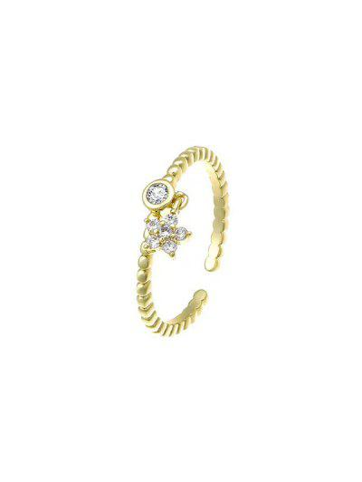 Zircon Inlaid Star Plated Open Charm Ring - Golden Resizable