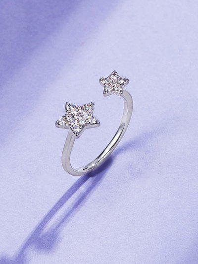 Rhinestone Inlaid Double Star Open Finger Ring - Silver Resizable