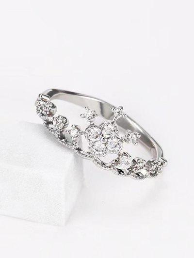Crown Shape Rhinestone Ring - Silver Us 7
