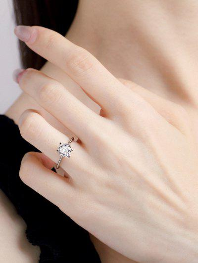 Classic Zircon Inlaid Prong Setting Finger Ring - Silver Us 8