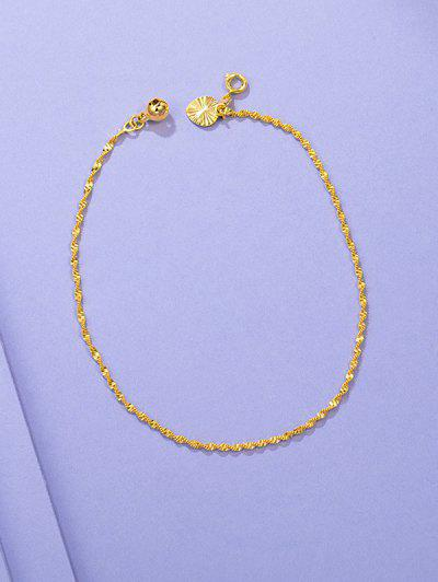 Golden Twist Chain Plated Bell Teardrop Charm Anklet - Golden