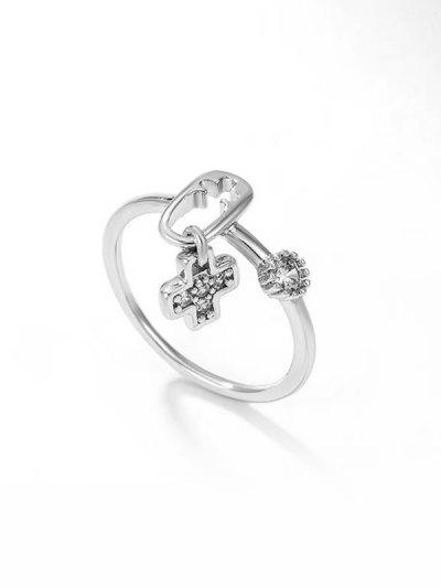 Rhinestone Inlaid Plated Cut Out Cross Charm Ring - Silver Us 7