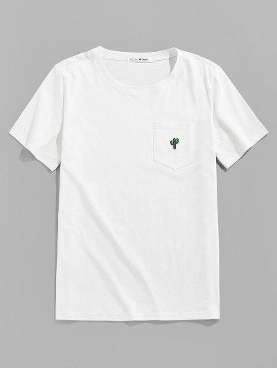 ZAFUL Pocket Cactus Embroidery T Shirt - White L