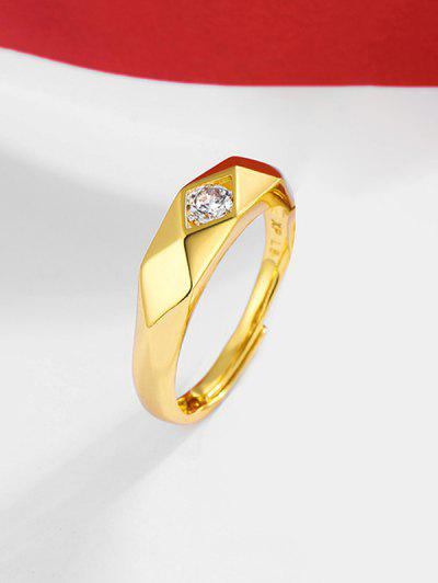 Rhombus Zircon Inlaid  Adjustable Gypsy Setting Ring - Golden Resizable