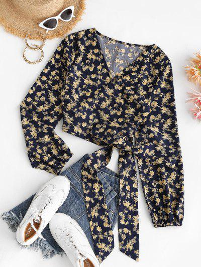 Cropped Tiny Floral Wrap Blouse - Deep Blue S