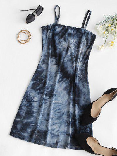 적합 넥타이 염료 카미 미니 드레스 - 검정 에스