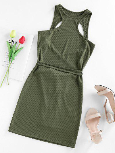 ZAFUL Ribbed Open Back Cutaway Mini Bodycon Dress - Green S