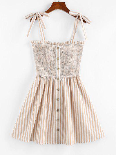 ZAFUL Striped Pattern Shirring Mini Dress - Light Coffee L