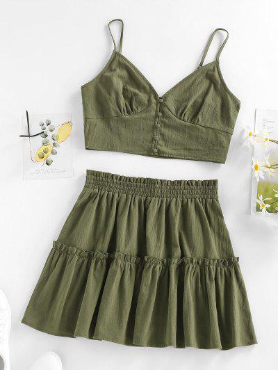 ZAFUL Ruffle Smocked Button Up Tiered Skirt Set - Green S