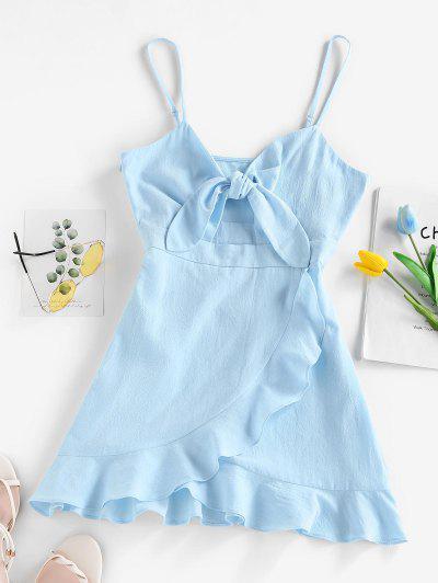ZAFUL Front Knotted Flounce Mini Dress - Light Blue L