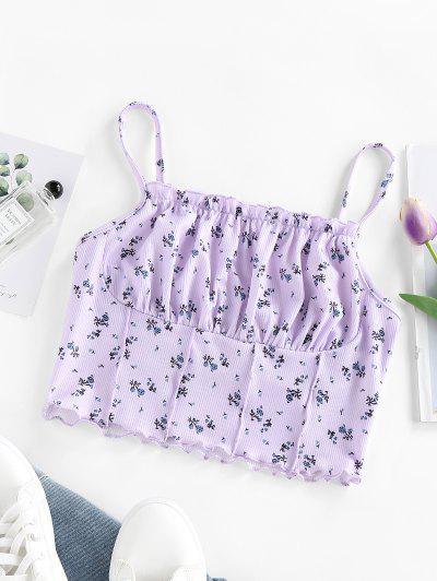 ZAFUL Top Con Cami Top Acanalado Floral - Luz Púrpura L