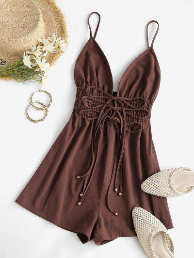 ZAFUL Front Tie Plunge Smocked Cami Romper - Coffee M