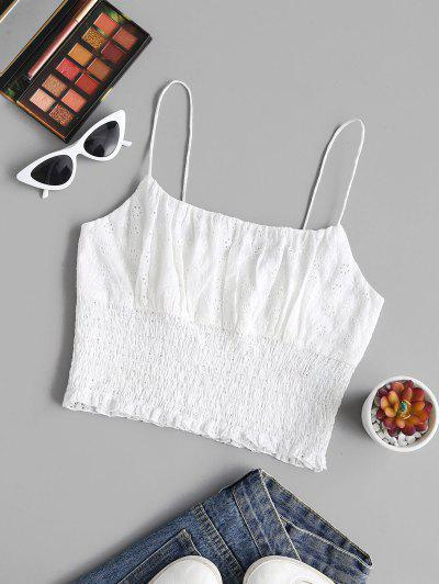 ZAFUL Broderie Anglaise Ruched Bust Smocked Crop Top - White S