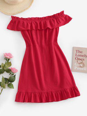 zaful ZAFUL Flounce Off Shoulder Mini Dress