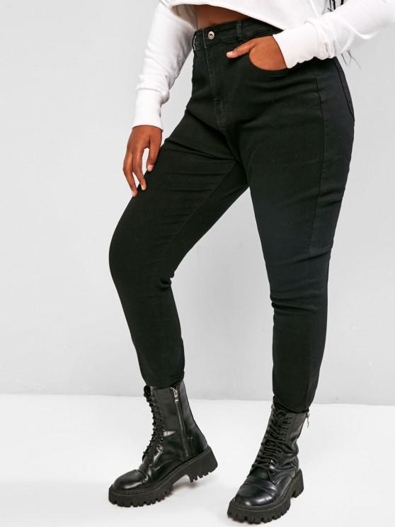 sale Plus Size Plain Skinny Jeans - BLACK L
