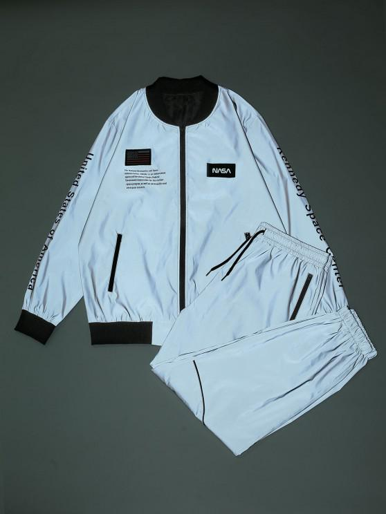 Reflective American Flag USA Letter Graphic Jacket And Pants Set - اللون الرمادي M