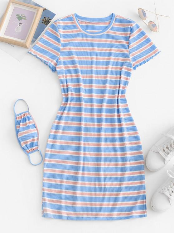 fancy Ribbed Striped Bodycon Dress with Face Mask - LIGHT BLUE S