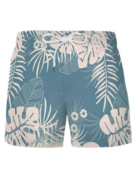 Pantaloncini da Spiaggia con Motivo a Foglie Tropicali - Blu Leggero XL