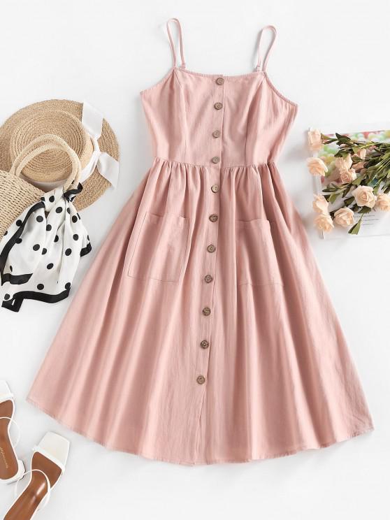 fancy ZAFUL Button Through Pocket Smocked Midi Dress - LIGHT PINK M