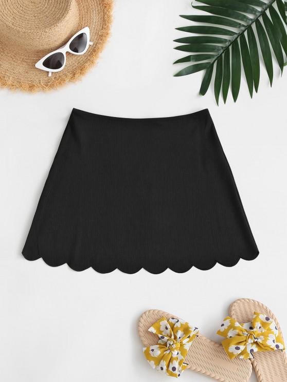 ZAFUL Ribbed Scalloped Mini Beach Skirt - أسود S