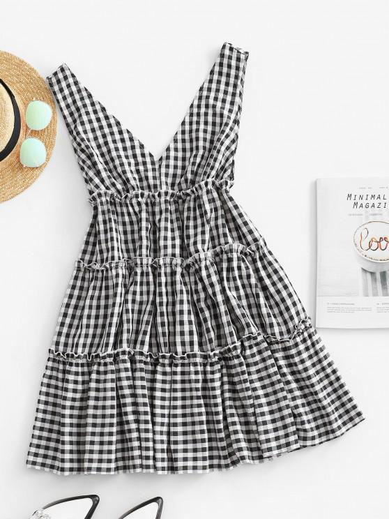 outfits ZAFUL Double V Gingham Frilled Tiered Dress - BLACK M