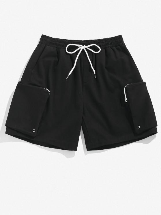 womens ZAFUL Zipper Pocket Cargo Shorts - BLACK L