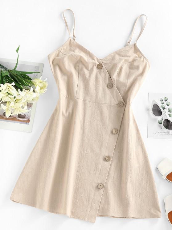 outfit ZAFUL Buttons Surplice Asymmetric Dress - LIGHT COFFEE XL