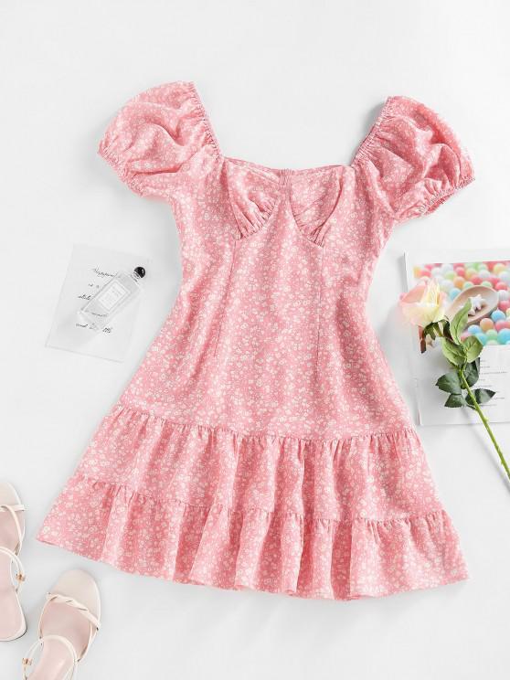 hot ZAFUL Ditsy Print Puff Sleeve Flounce Mini Dress - LIGHT PINK M