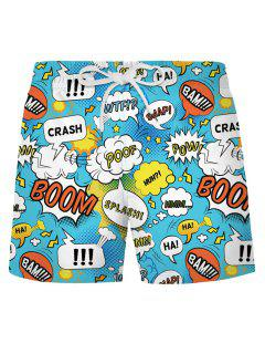 Graphic Pop Art Casual Shorts - Day Sky Blue Xl