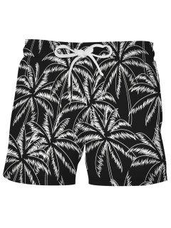 Palm Tree Beach Vacation Shorts - Black L