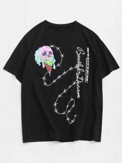 Drip Skull Ice Cream Letter Print Short Sleeve T-shirt - Black S