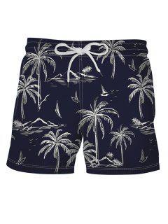 Palm Tree Print Board Shorts - Midnight Blue L