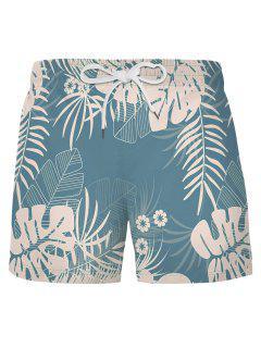 Pantaloncini Da Spiaggia Con Motivo A Foglie Tropicali - Blu Leggero L