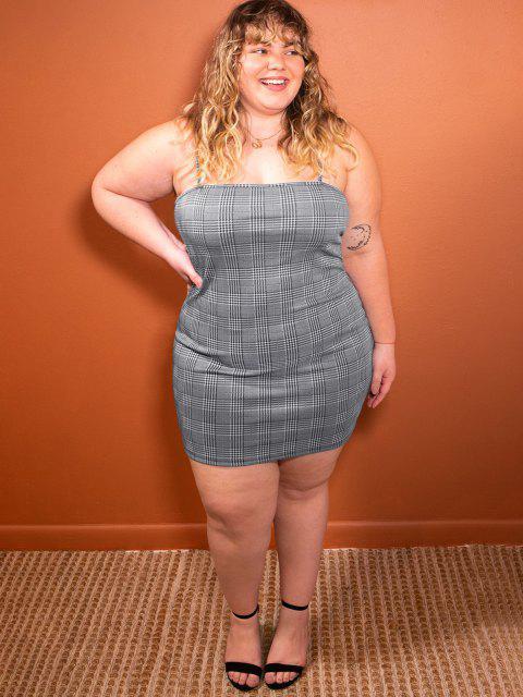 fancy ZAFUL Plus Size Plaid Bodycon Cami Dress - BLACK L Mobile