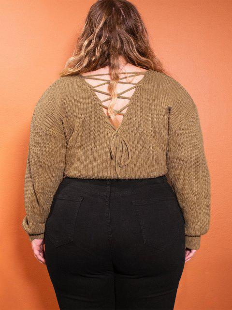 hot ZAFUL Lace Up Back Cable Knit Plus Size Sweater - COFFEE L Mobile