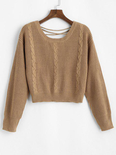 shop ZAFUL Lace Up Back Cable Knit Plus Size Sweater - COFFEE 3XL Mobile