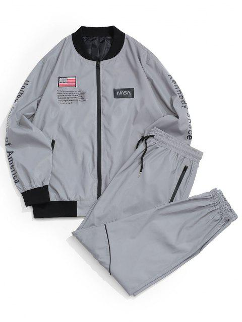 womens Reflective American Flag USA Letter Graphic Jacket And Pants Set - GRAY M Mobile