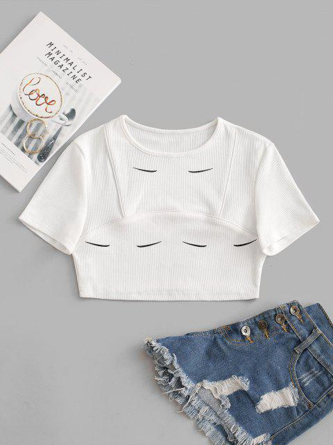 outfit Ribbed Eyebrow Print Binding Crop Tee - WHITE S Mobile