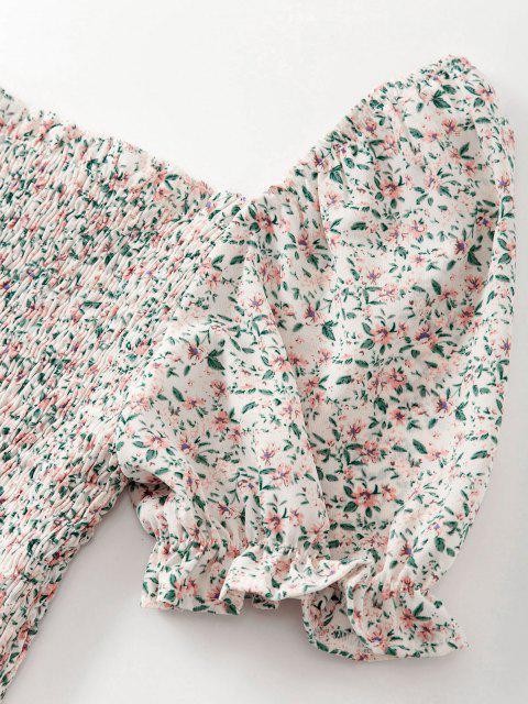 Robe Fleurie à Volants Deux Pièces - Jaune clair M Mobile