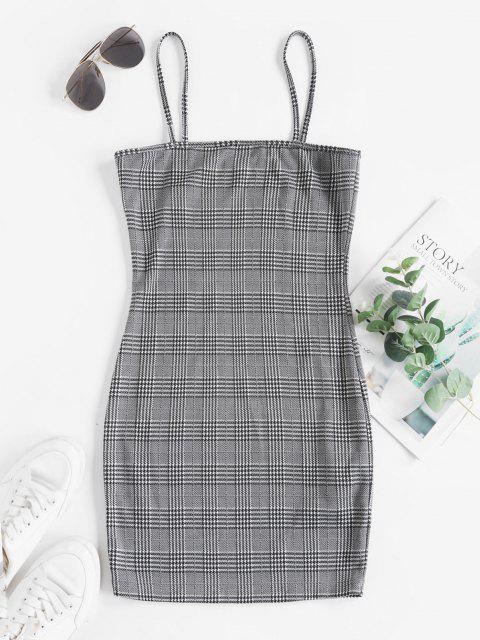 unique ZAFUL Plus Size Plaid Bodycon Cami Dress - BLACK XL Mobile