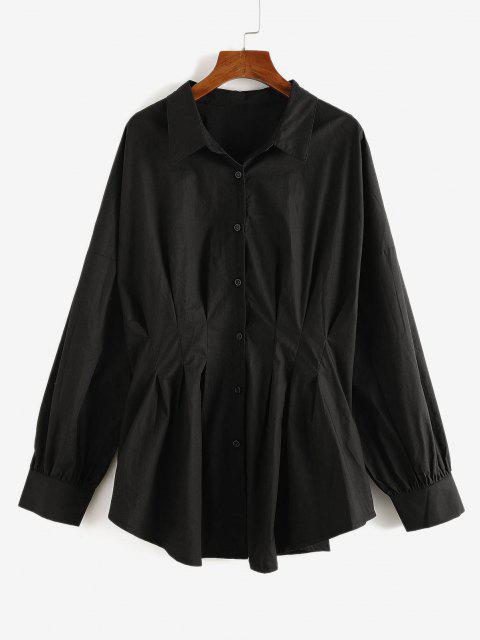 Chemise Longue Plissée de Grande Taille à Goutte Epaule - Noir 3XL Mobile